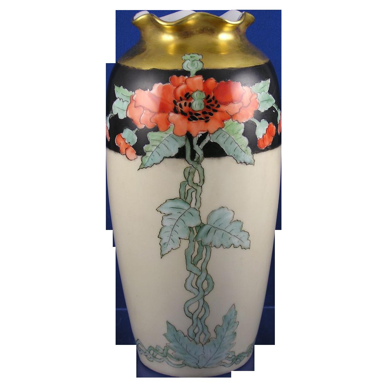"""Pfeiffer & Lowenstein Imperial Austria Arts & Crafts Poppy Motif Vase (Signed """"Addie Hendrickson""""/c.1914-1918)"""