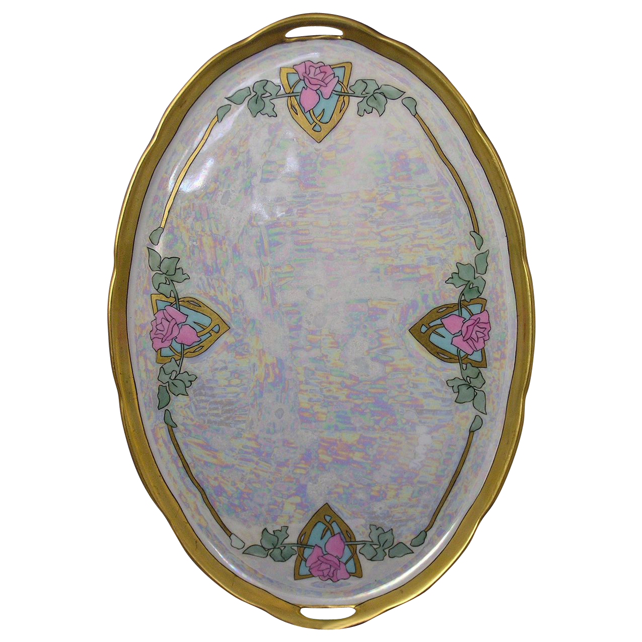 Royal Epiag Czechoslovakia Art Deco Rose Motif Tray (c.1918-1936)