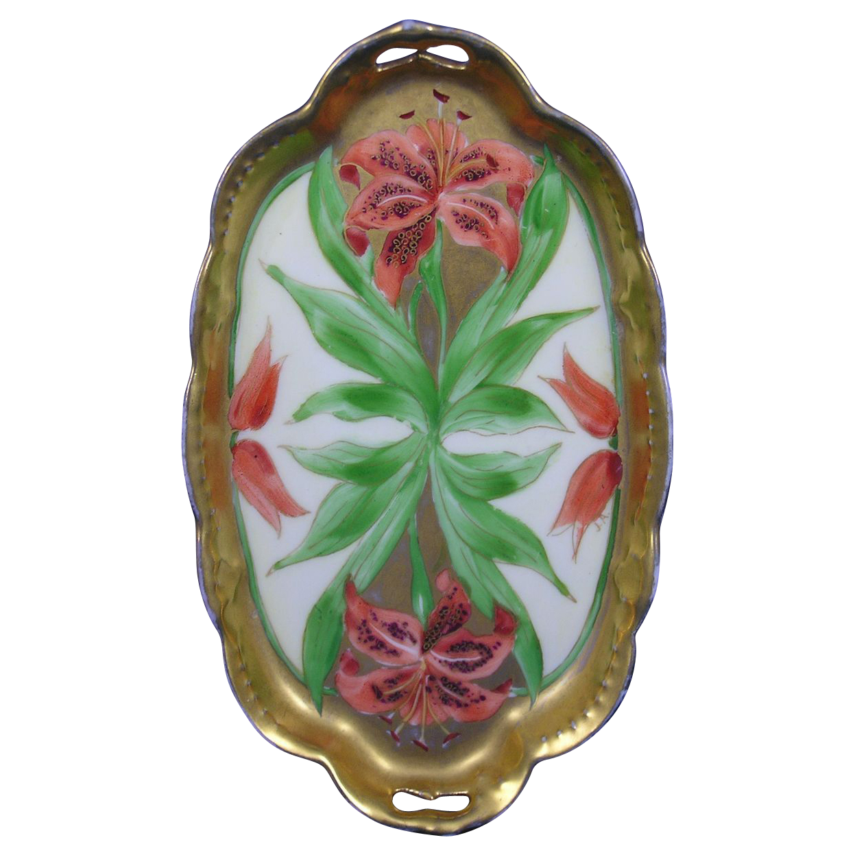 "White's Art Co. Chicago Tiger Lily Design Card Tray (Signed ""J.A.""/c.1914-1923)"