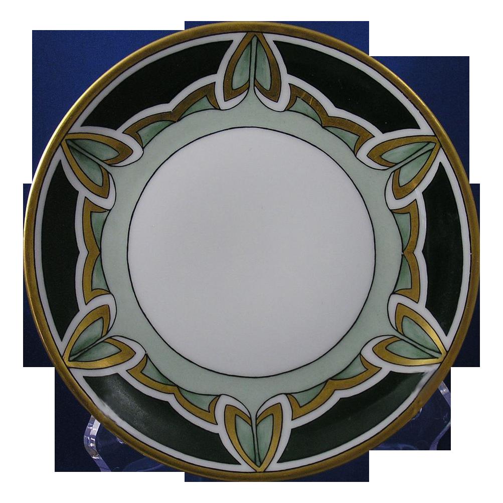 C. Tielsch (C.T.) Altwasser Silesia Arts & Crafts Geometric Leaf Design Plate (c.1875-1934)