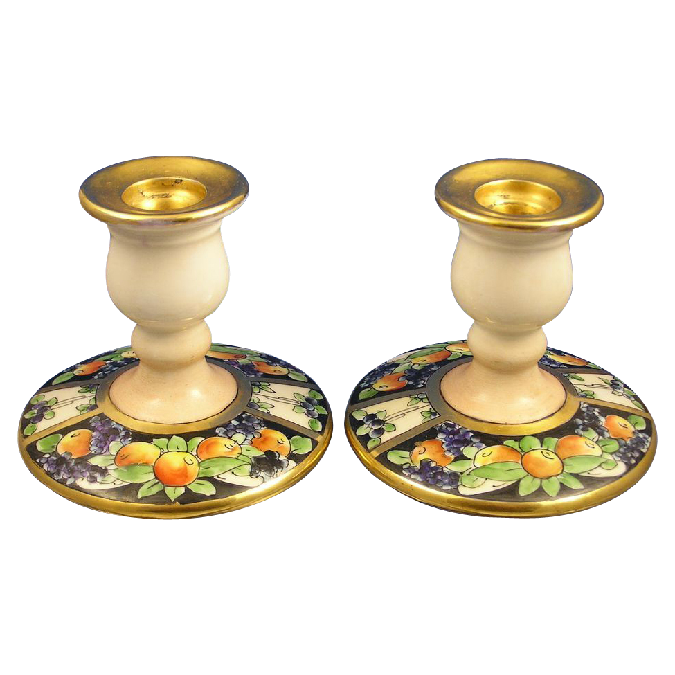 Arts & Crafts Fruit Design Candlesticks (c.1900-1940)