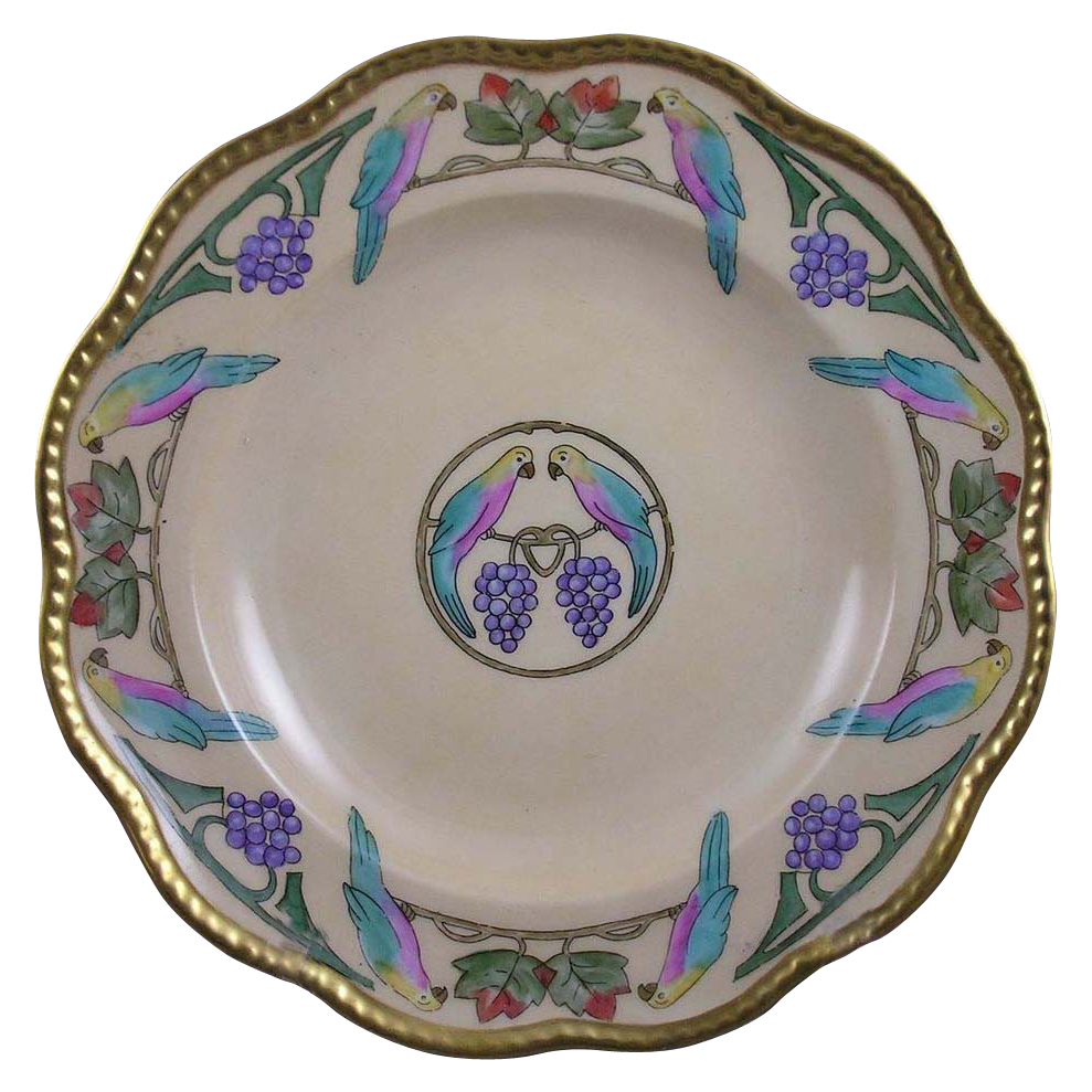 Charles Martin Limoges Arts & Crafts Parrot or Lovebird & Grapes Design Bowl (c.1891-1930)