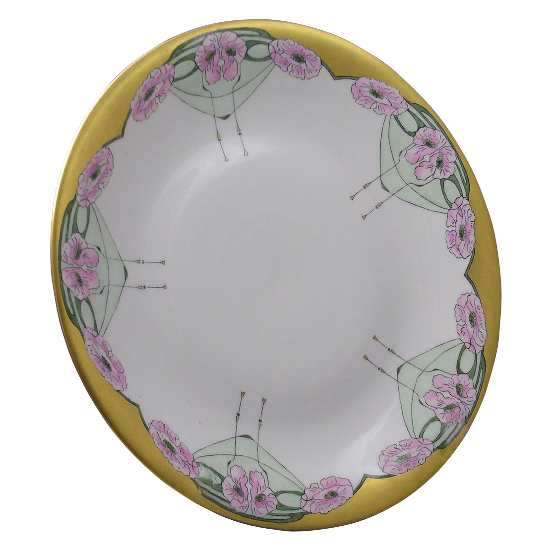 Union Ceramique (U.C.) Limoges Art Deco Poppy Motif Plate/Charger (c.1909-1938)