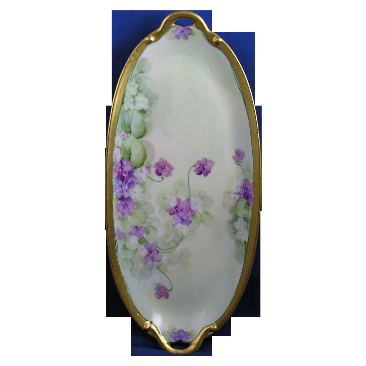 "Gerard, Dufraisseix & Abbot (GDA) Limoges Pitkin & Brooks Studio Violet Motif Tray (Signed ""Reury""/c.1903-1910)"