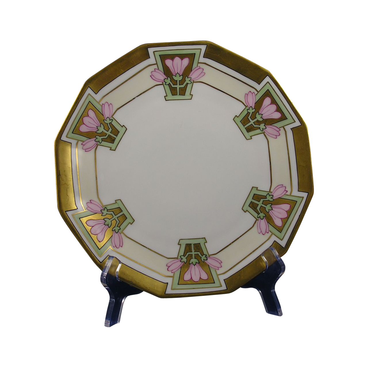 Blakeman & Henderson Limoges Arts & Crafts Pink Floral Plate (c.1912-1920) - Keramic Studio Design