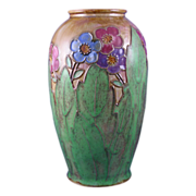 "Royal Doulton Arts & Crafts Floral Motif Vase (Signed ""WB"" for Winnie Bowstead/c.1923-1927)"