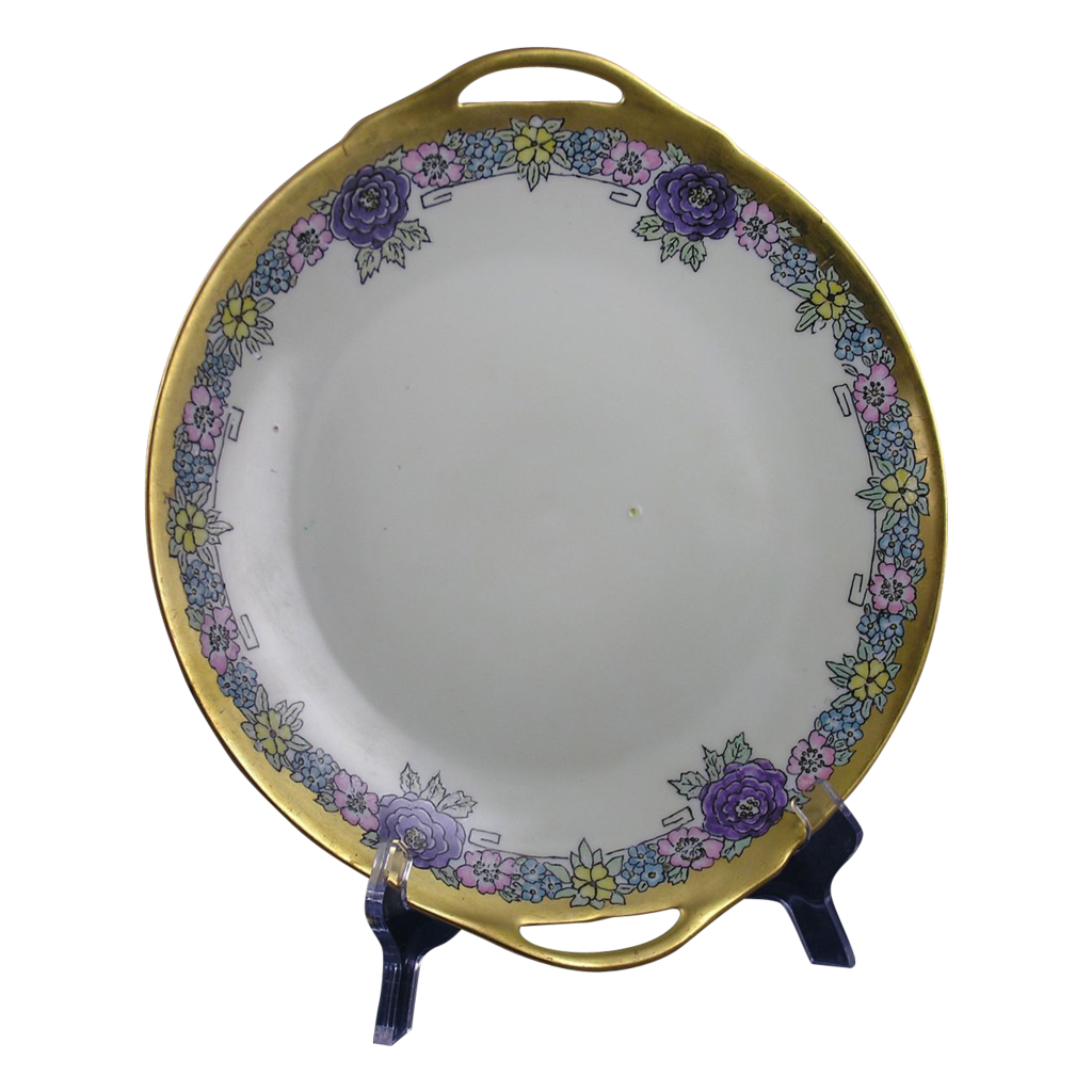 "Thomas Bavaria Floral Motif Arts & Crafts Handled Plate (Signed ""BOR""/c.1908-1930)"