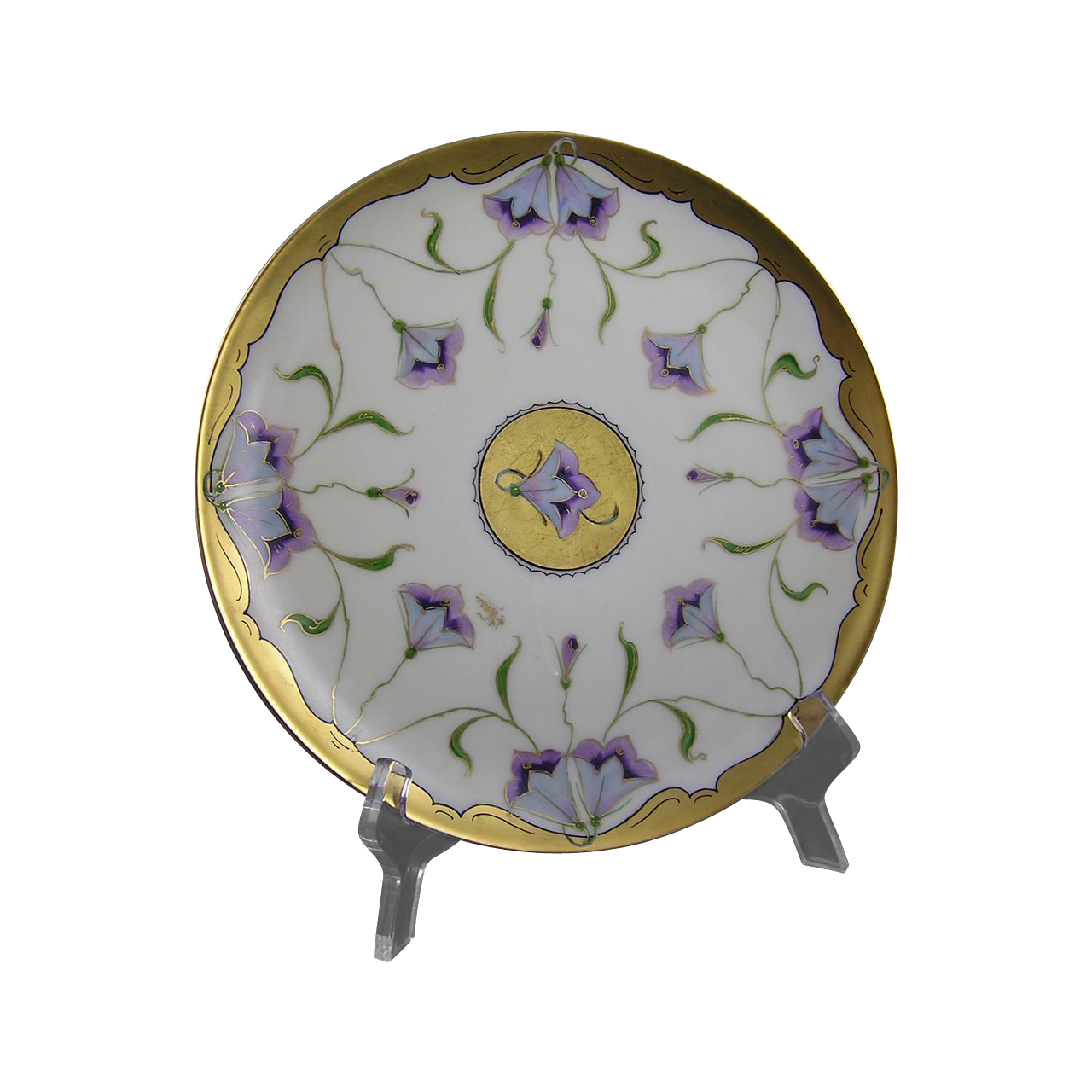 "Stouffer Studios Haviland Limoges Stylized Purple Floral Design Plate (Signed ""A. Wall""/c.1906-1914)"