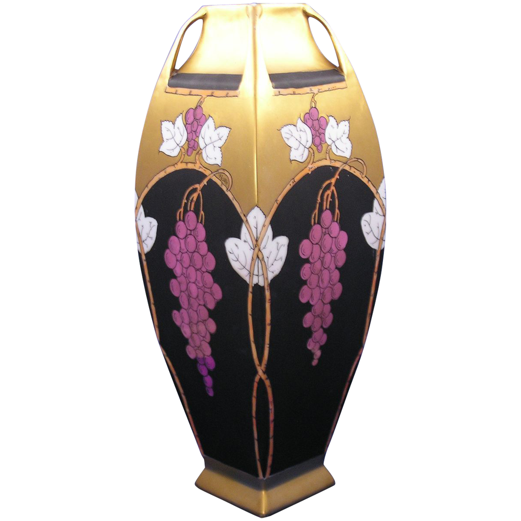 "Austrian ""Lustre Grapes & Leaves"" Design Vase (Signed by Pickard Artist ""Reury""/c.1913-1920)"