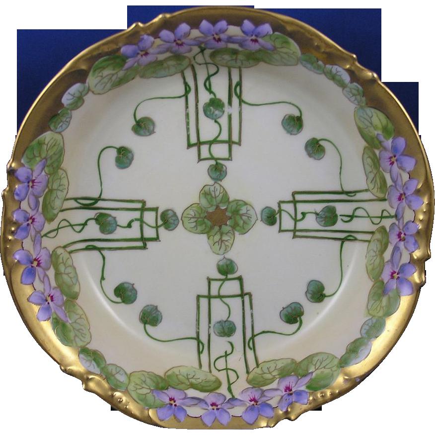 """Jean Pouyat (JP) Limoges Pickard Studios """"Violets In Panel"""" Design Serving Bowl (c.1905-1910)"""