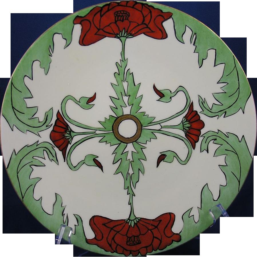 """Jean Pouyat (JP) Limoges Arts & Crafts Poppy Motif Plate (Signed """"Lulu Stevens""""/c.1890-1932)"""
