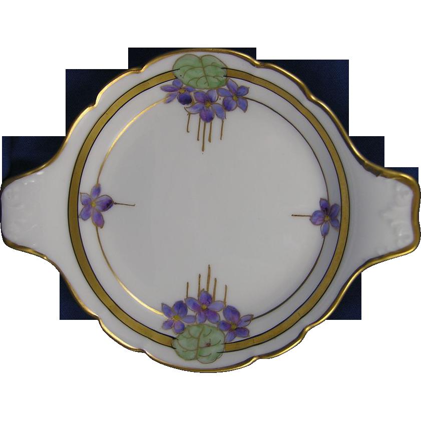 Pickard Studios Arts & Crafts Violet Design Handled Dish (c.1912-1918)