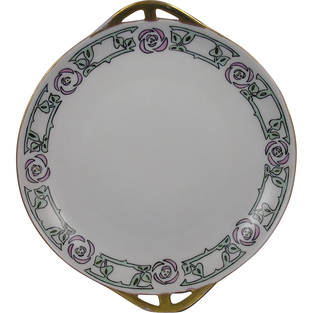 Bavaria Arts & Crafts Floral Design Handled Plate (c.1920-1940)