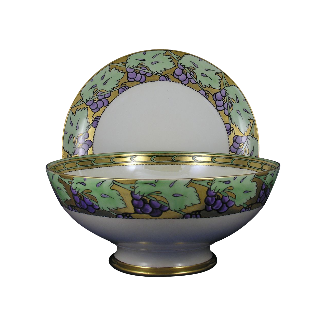 "Arts & Crafts Grape Motif Plainemaison Limoges Punch Bowl & Haviland Limoges Plate Set (Signed ""H. Rowson""/Dated 1909/1910)"