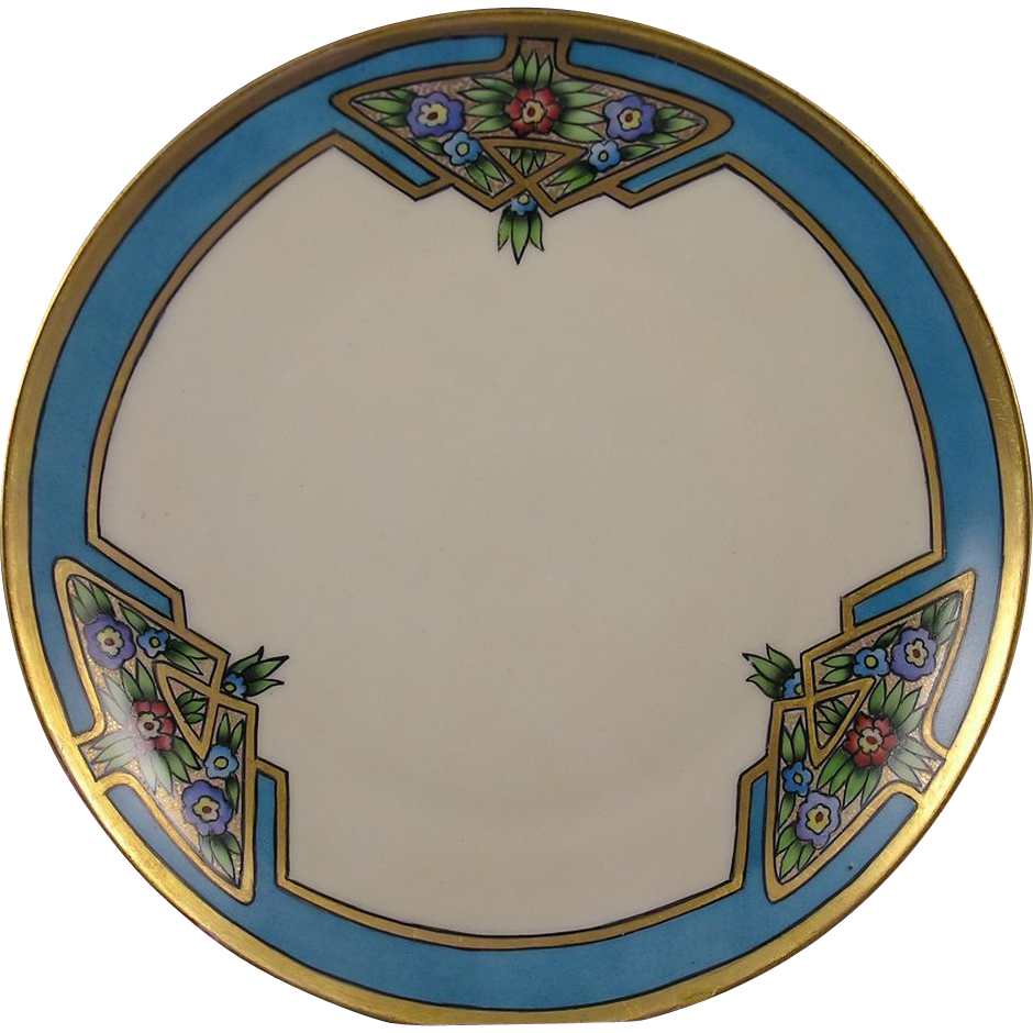 "Tirschenreuth (PT) Bavaria Art Deco Floral Motif Plate (Signed ""Lily A. Huffman""/c.1919-1930) - Keramic Studio Design"