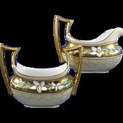 """Stouffer Studios Lily Design Creamer & Sugar Set (Signed """"Bardos"""" for Isadore Bardos/c.1906-1914)"""