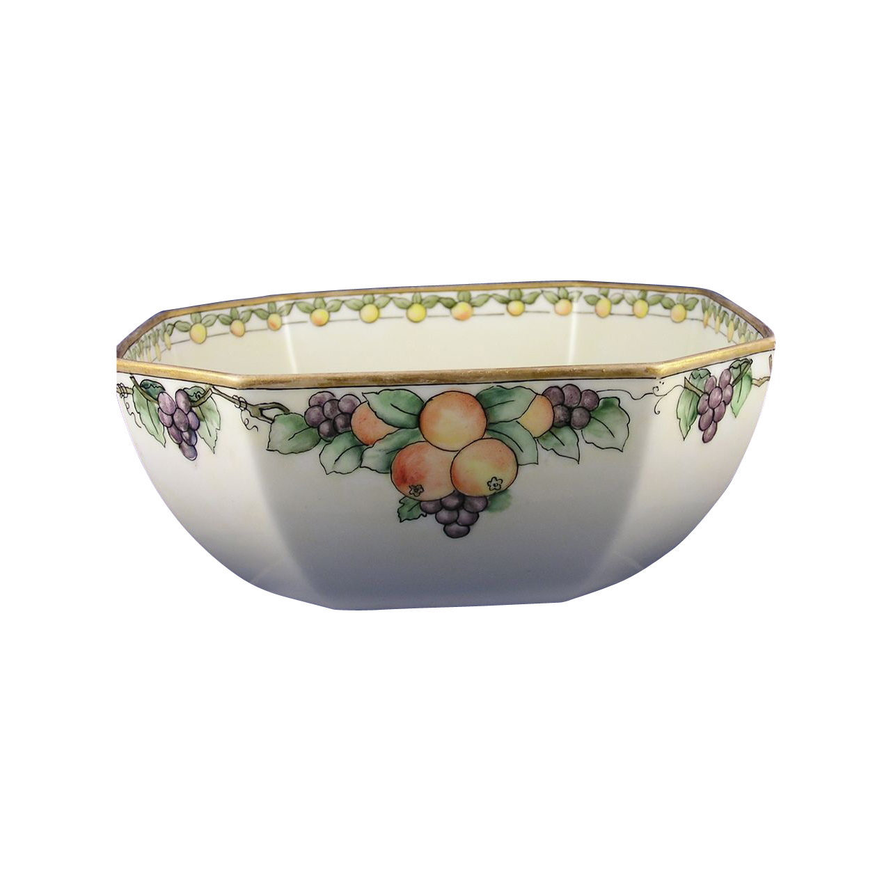 "Bernardaud & Co. (B&Co.) Limoges Arts & Crafts Fruit Motif Bowl (Signed ""F.S. Goodwin""/c.1900-1914)"