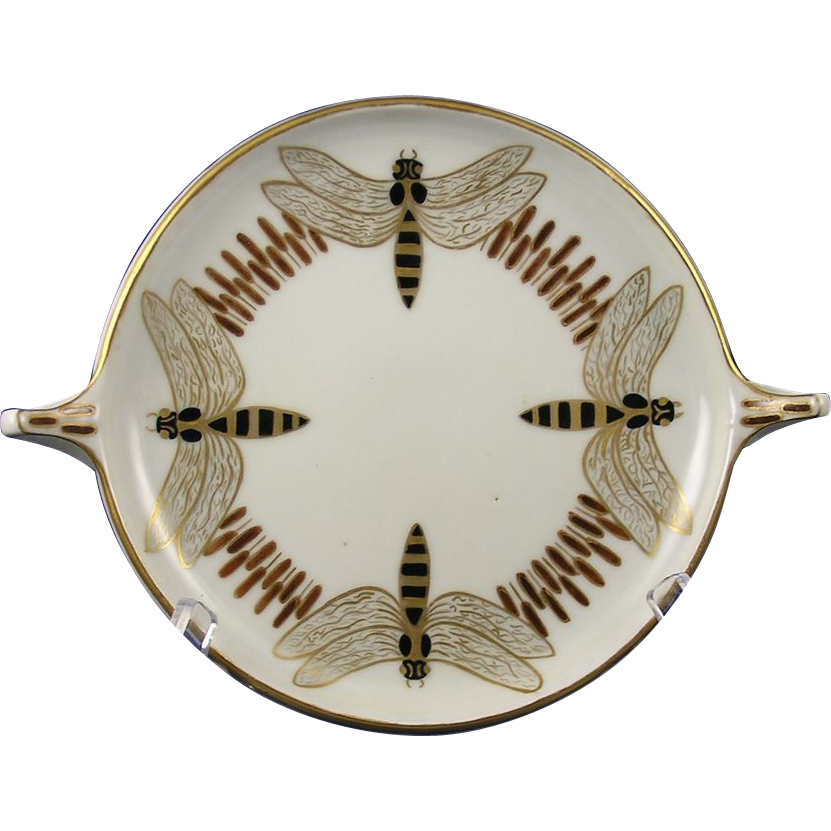 "Rosenthal Bavaria Arts & Crafts Bee Motif Handled Serving Plate/Dish (Signed ""MC""/c.1907-1930)"