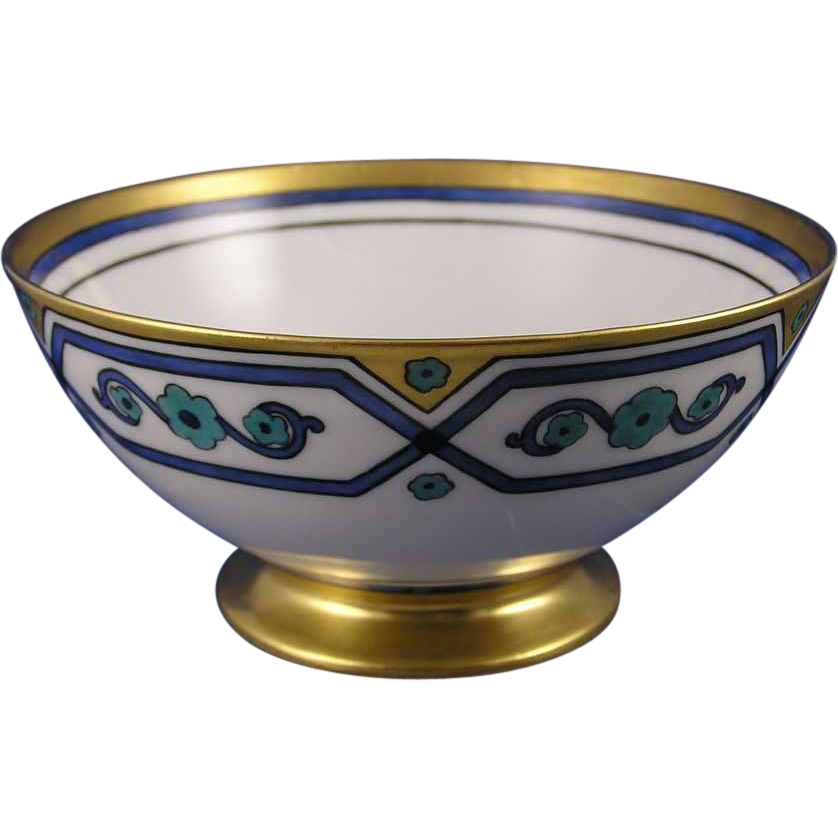 "Haviland Limoges Art Deco Floral Design Bowl (Signed ""M.W. Spiers""/c.1894-1931)"