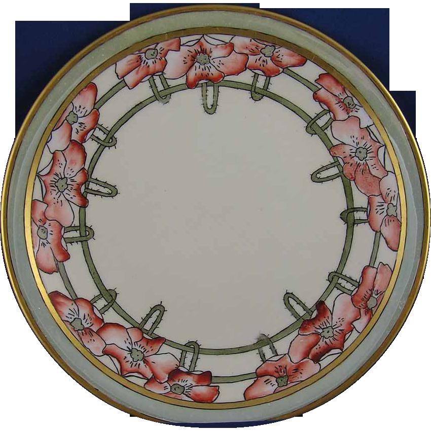 "Bernardaud & Co. (B&Co.) Limoges Arts & Crafts Poppy Motif Plate (Signed ""O.B.K.""/c.1900-1914)"