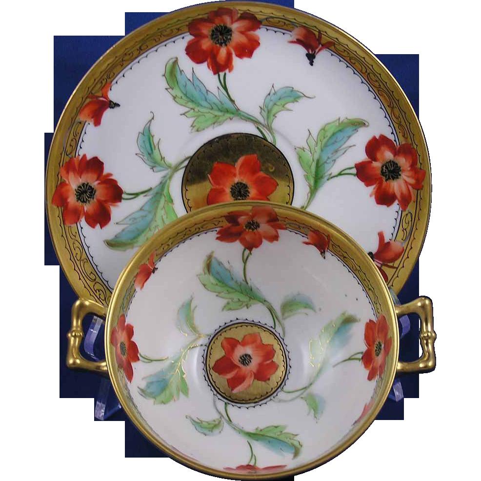 Limoges Mark 2 Stouffer Studios Poppy Design Handled Bowl & Plate Set (c.1905-1906)