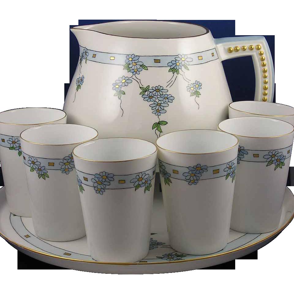 "Paroutaud Freres (P&P) & T&V Limoges Arts & Crafts Floral Design Pitcher, Cups & Tray Set (Signed ""S.S.M.""/c.1903-1917)"