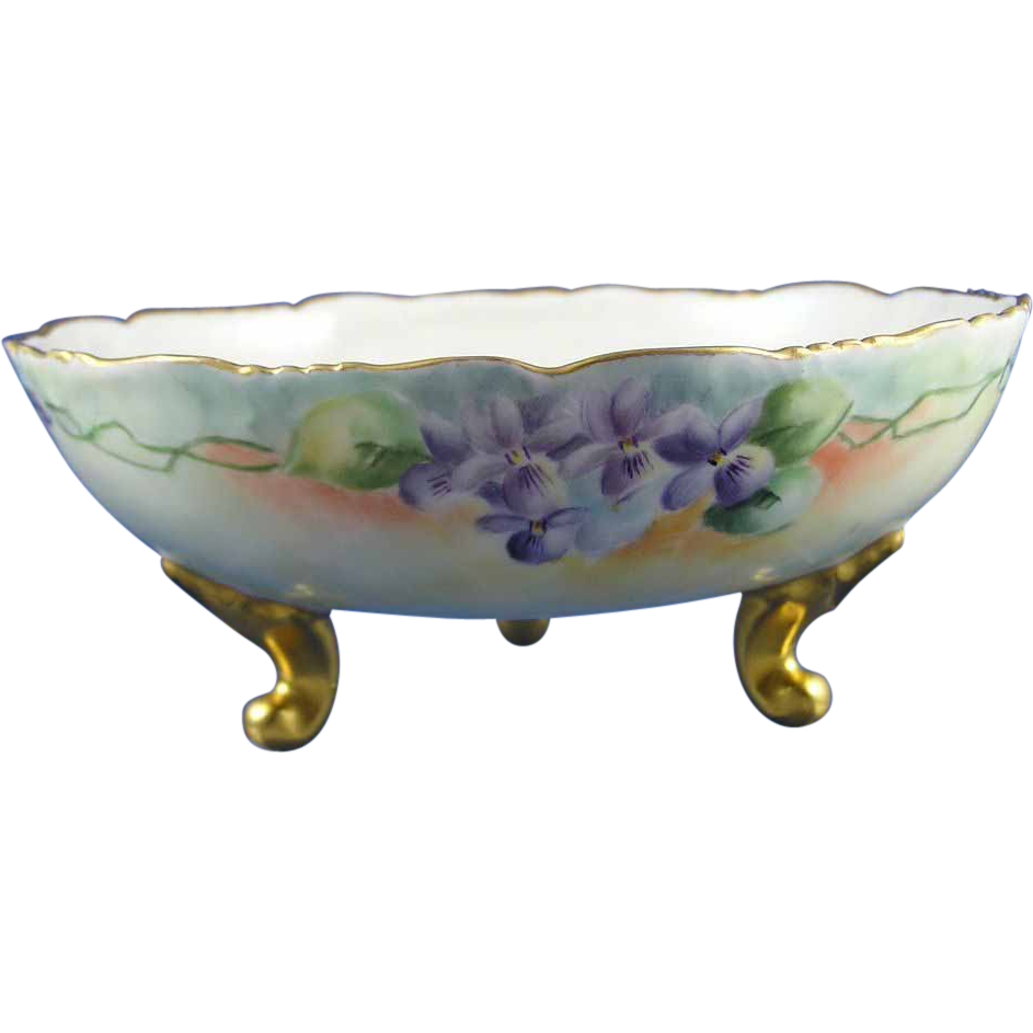 "T&V Limoges Violet Motif Footed Bowl (Signed ""M.E. Schlechter""/c.1892-1907)"