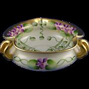 "Pickard Studios ""Violets In Panel"" Design Handled Bowl (Signed ""A.W."" for Albert Wagner/c.1910-1912)"