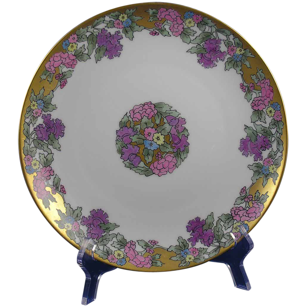 bavaria art deco floral motif plate signed marie from. Black Bedroom Furniture Sets. Home Design Ideas