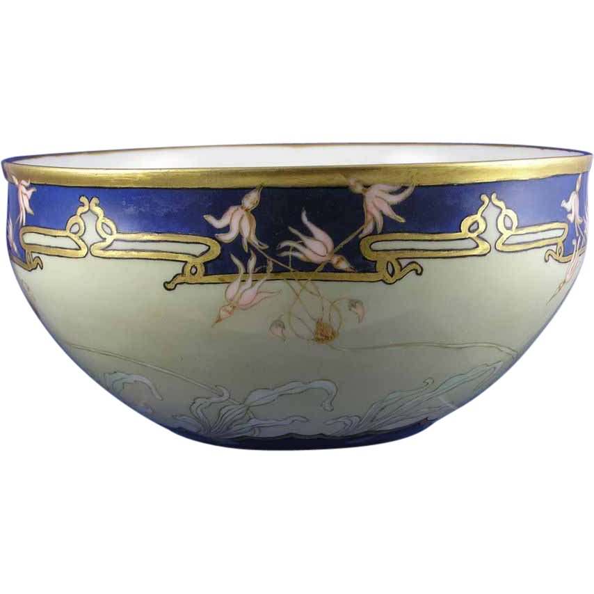 "Ceramic Art Co. (CAC) Belleek Art Nouveau Floral ""Shooting Star"" Design Centerpiece Bowl (Signed ""Maria Stauffer""/c.1906-1924) - Keramic Studio Design"