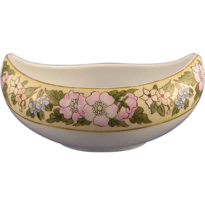 "Favorite Bavaria Enameled Floral Motif Bowl (Signed ""Josephine Beckman""/Dated 1911)"