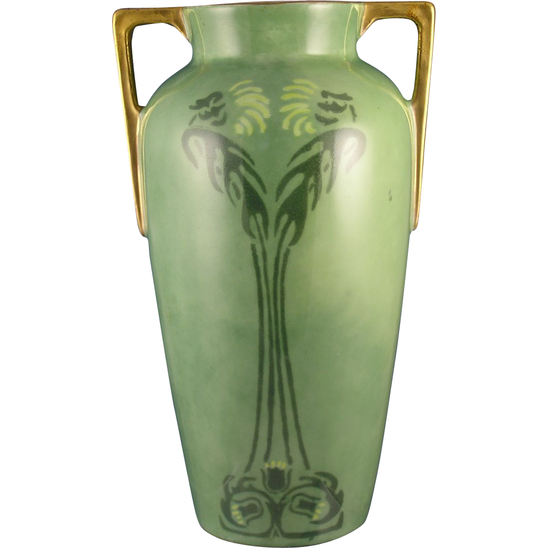 Heinrich & Co. (H&Co.) Selb Bavaria Arts & Crafts Stenciled Floral Design Vase (c.1911-1935) - Keramic Studio Design