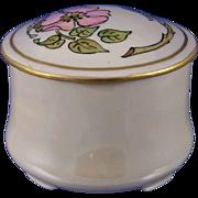 """Oscar & Edgar Gutherz (O&EG) Austria Arts & Crafts Rose Motif Trinket Jar (Signed """"M.F. Xmas 1912"""")"""
