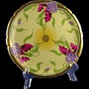 "Jean Pouyat (JP) Limoges Stouffer Studios Iris Design Plate (Signed ""E. Feix""/c.1906-1914)"