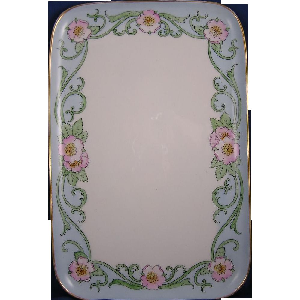 """Porcelain Limousine (PL) Limoges Arts & Crafts Floral Design Tray (Signed """"E.B. Tanner""""/Dated 1911)"""