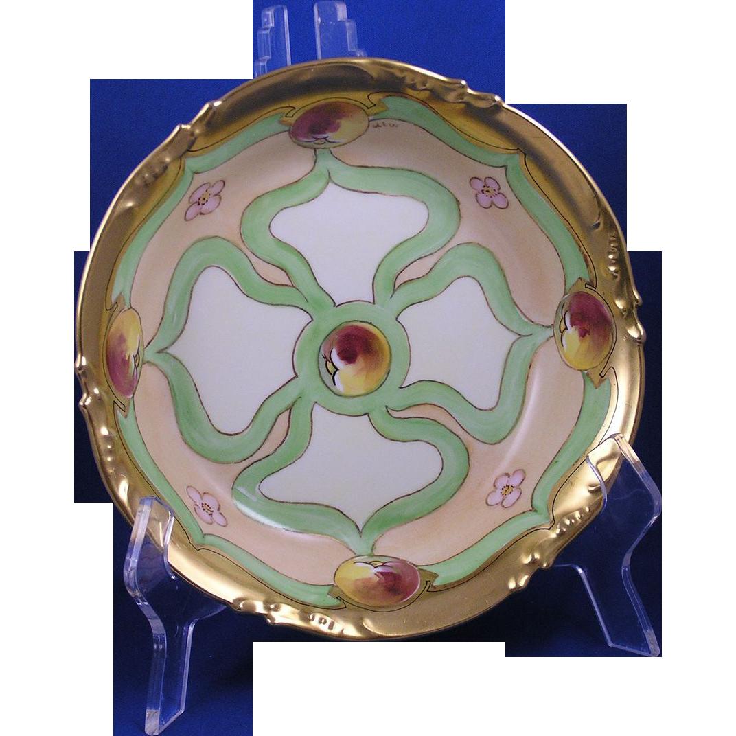 Jean Pouyat (JP) Limoges White's Art Co. Peach Design Bowl (Signed by Utwich/c.1914-1923)