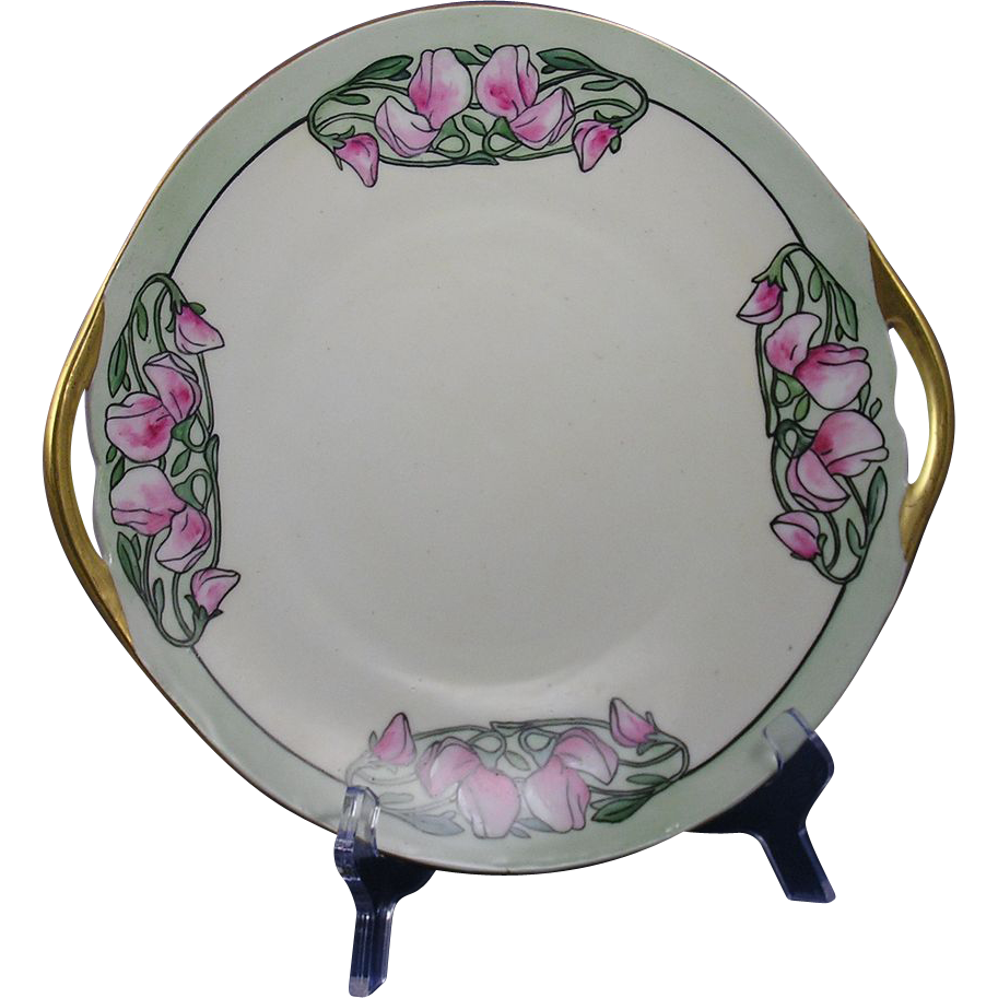Bernardaud & Co. (B&Co.) Limoges Arts & Crafts Floral Motif Handled Plate (c.1914-1930)