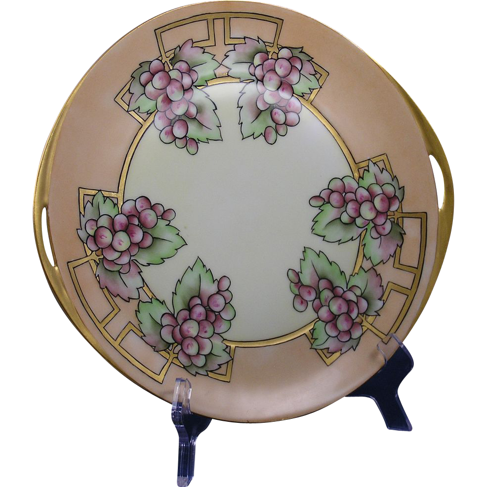 Hermann Ohme Silesia Arts & Crafts Grape Motif Plate (Signed/c.1882-1930)