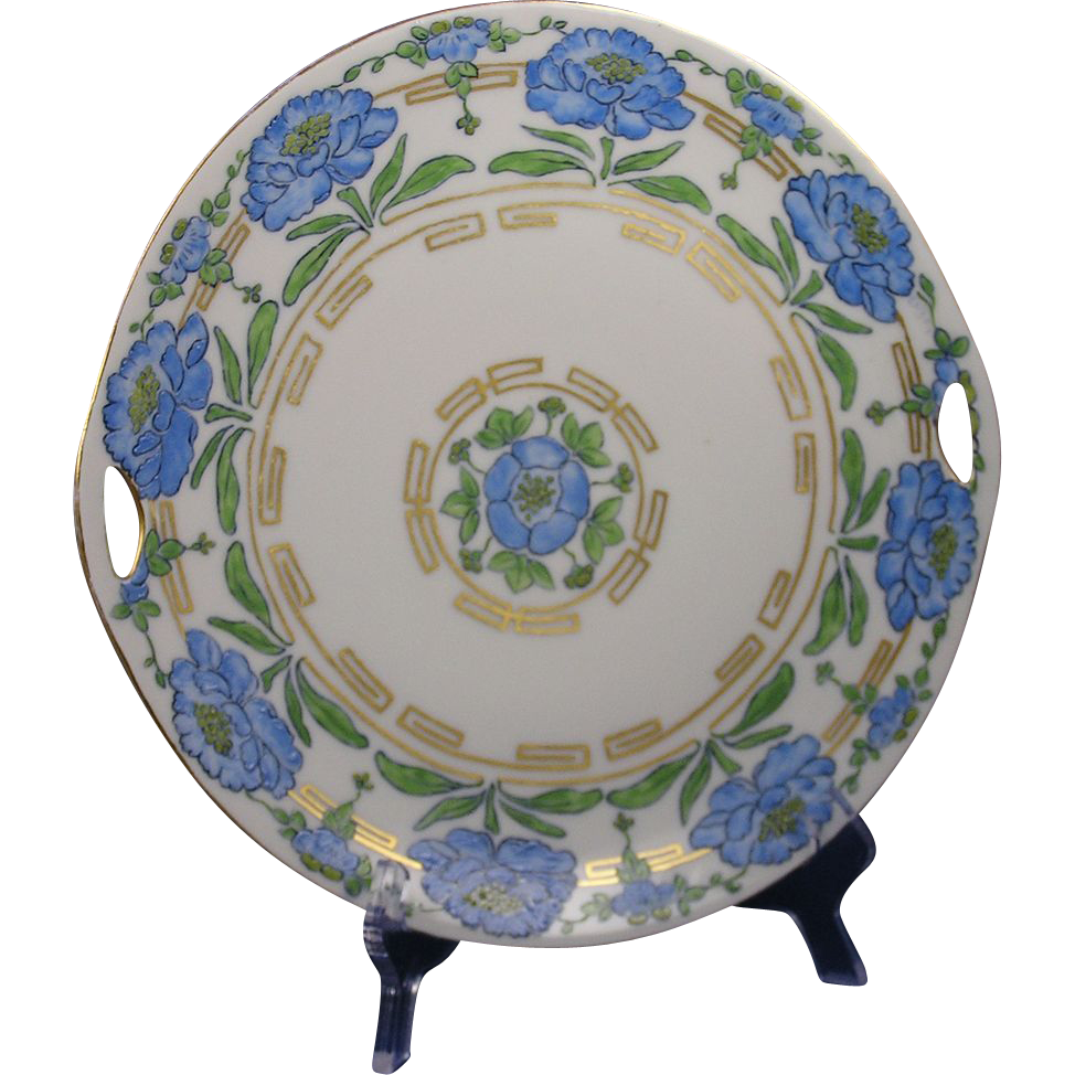 "Krister Porcelain Manufactory (KPM) Germany Arts & Crafts Blue Floral Handled Plate (Signed ""Lolley""/c.1912-1927) - Keramic Studio Design"