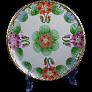 """Graves China Co. St. Louis Haviland Limoges Arts & Crafts Nasturtium Design Plate (Signed """"Koenig"""" for Pickard Artist, Carl F. Koenig/c.1905-1930)"""