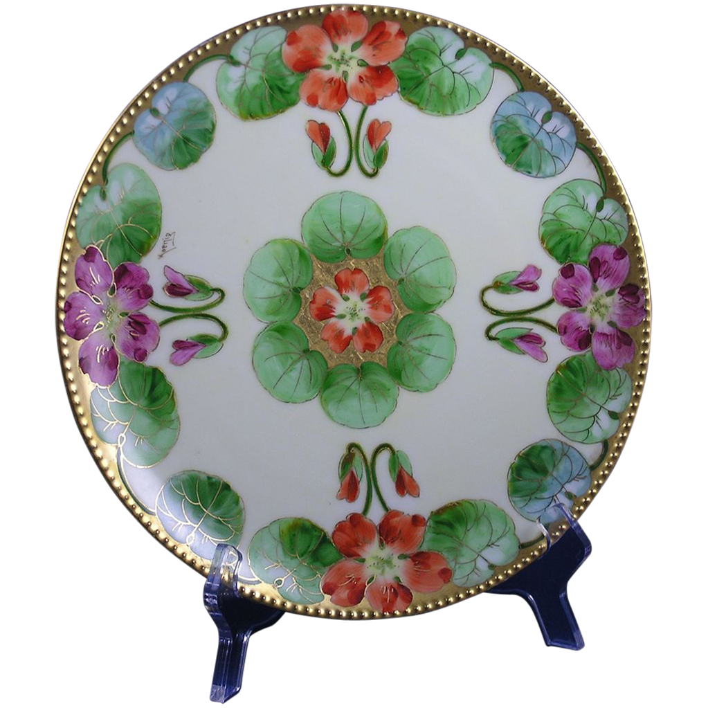 "Graves China Co. St. Louis Haviland Limoges Arts & Crafts Nasturtium Design Plate (Signed ""Koenig"" for Pickard Artist, Carl F. Koenig/c.1905-1930)"