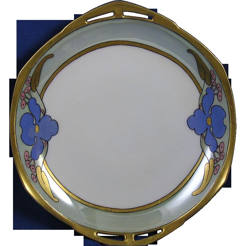 "Moritz Zdekauer (MZ) Altrohlau Czechoslovakia Arts & Crafts Floral Motif Handled Dish (Signed ""M. Suzann Brose""/c.1918-1939)"
