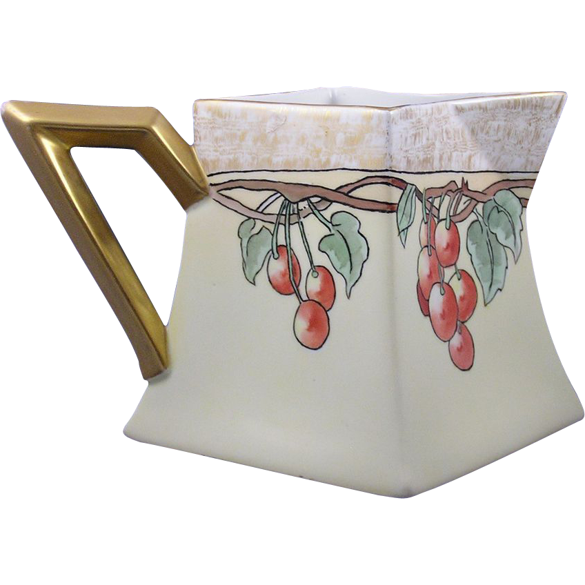 Bernardaud & Co. (B&Co.) Limoges Arts & Crafts Cherry Design Lemonade/Cider Pitcher (c.1900-1914)