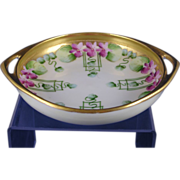 "Pickard Studios ""Violets in Panel"" Design Handled Dish (c.1910-1912)"