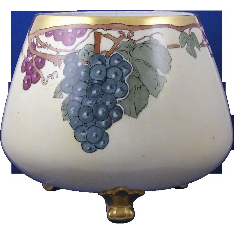 "PH Leonard Austria Arts & Crafts Grape Motif Footed Planter/Vase (Signed ""M.P.""/c.1890-1908)"