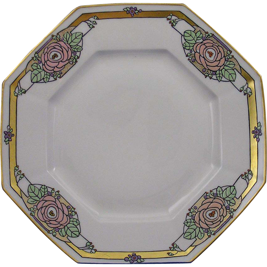 T&V Limoges Arts & Crafts Enameled Floral Design Plate (c.1892-1907)