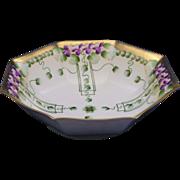 """Large Pickard Studios """"Violets in Panel"""" Design Bowl (c.1910-1912)"""