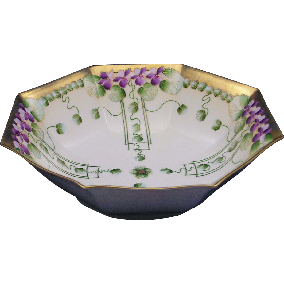 "Large Pickard Studios ""Violets in Panel"" Design Bowl (c.1910-1912)"