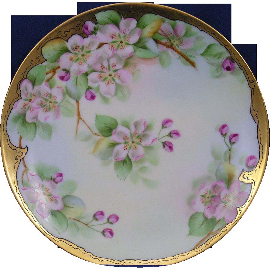 "Thomas Bavaria Pitkin & Brooks Apple Blossom Motif Plate (Signed ""Imlay""/c.1903-1910)"