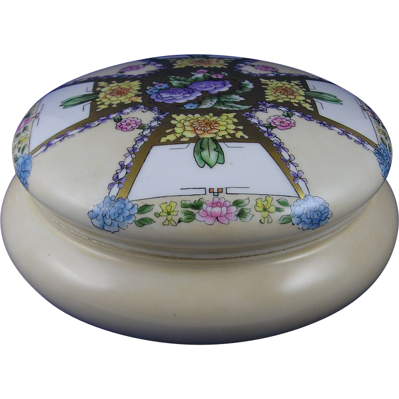Bernardaud & Co. (B&Co.) Limoges Art Deco Floral Motif Covered Dresser Jar/Dish (c.1900-1914)